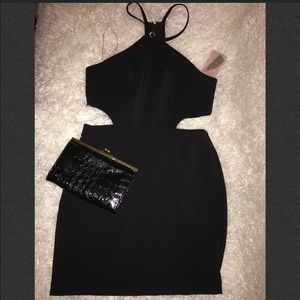 M-Black cut out dress w/ straps and zipper c…